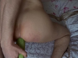 My first and huge 18x5cm squash insertion inside my gay asshole.