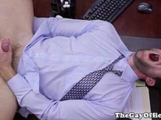 Horny office hunk assfucked deeply