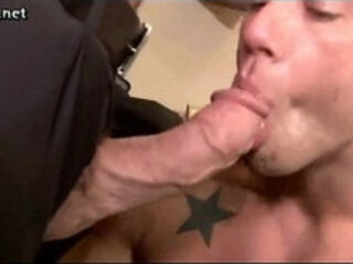 Hot gay employee sucking his boss huge dick