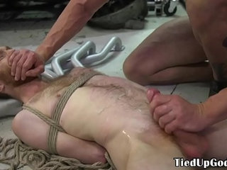 Ginger bdsm sub restrained by tattooed dom
