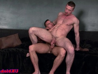 Ripped muscular queer ass riding a hard long black cock