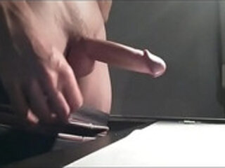 Big uncut cock cum explosion on desk