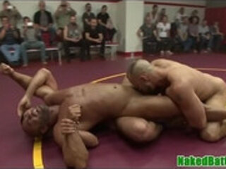 Ebony wrestling dude cocksucked by group