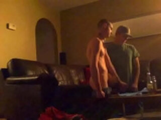 Curious straight guys masturbate to porn and finish each other hidden cam