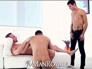 HD ManRoyale Three guys shove hard cock down their throats