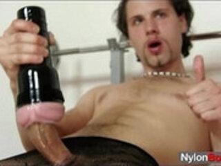 Naughty big dick male wears fancy pantyhose